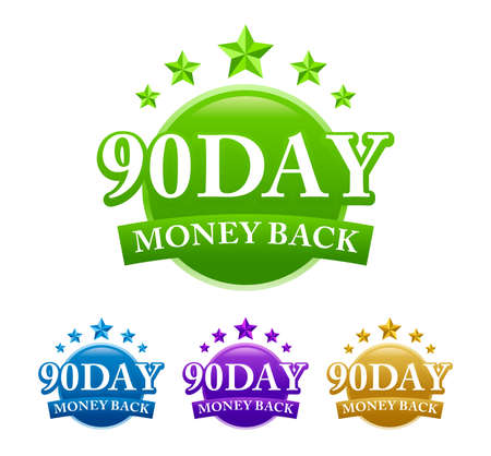 90 Day Money Back 4 color vector badge isolated on white background