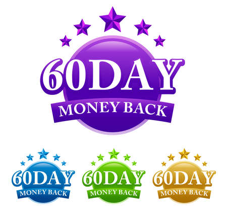 60 Day Money Back 4 color vector badge isolated on white background