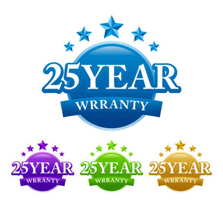 25  years warranty stamp sign seal vector image with four color variant 矢量图像