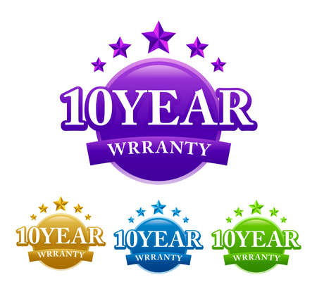 10 years warranty stamp sign seal vector image with four color variant