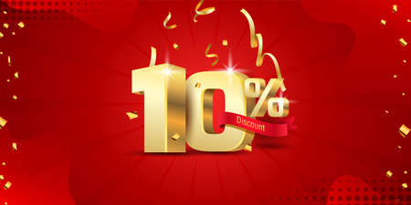 10% 3D discount banner with ribbon and confetti on red abstract background