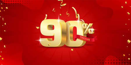 90% 3D discount banner with ribbon and confetti on red abstract background