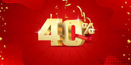 40% 3D discount banner with ribbon and confetti on red abstract background