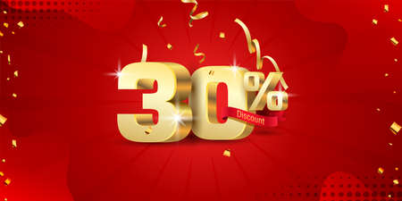 30% 3D discount banner with ribbon and confetti on red abstract background