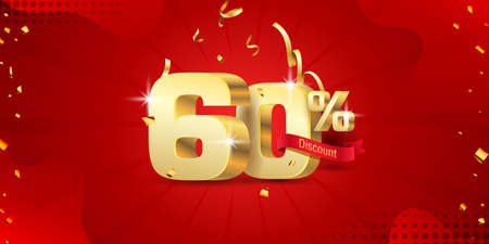 60% 3D discount banner with ribbon and confetti on red abstract background