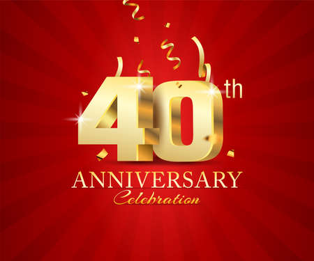 40th 3d Anniversary celebration banner with festival confetti on red abstract background