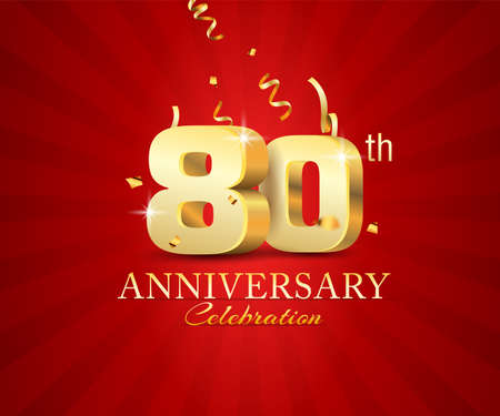 80th 3d Anniversary celebration banner with festival confetti on red abstract background
