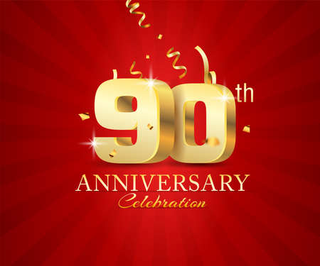 90th 3d Anniversary celebration banner with festival confetti on red abstract background