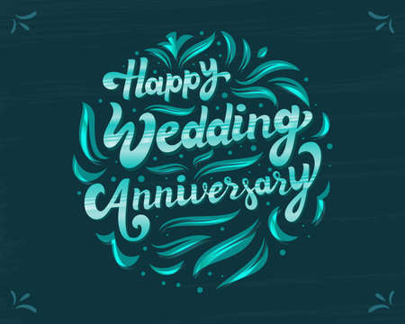 Floral, Decorative Wedding Anniversary Greetings Design. 3D Calligraphy, Lettering Vector Illustration