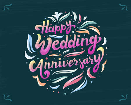 Happy wedding anniversary colorful Calligraphy, Lettering greeting banner design 矢量图像