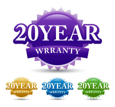 20 Year warranty vector badge, seal, label, icon with multiple colors. Vector illustration