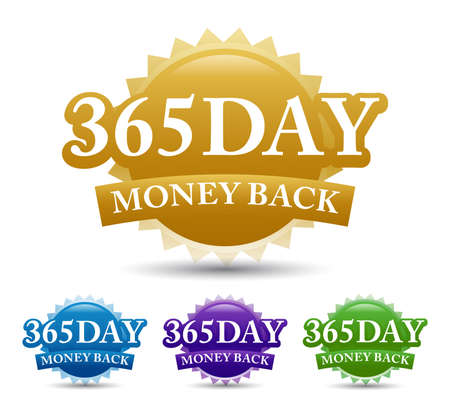 365-day money-back guarantee label vector image, isolated on white background. Vector design 矢量图像