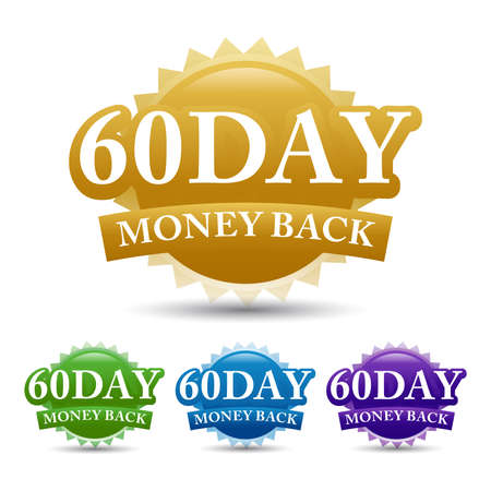 60-day money-back guarantees label vector image, isolated on white background. Vector design