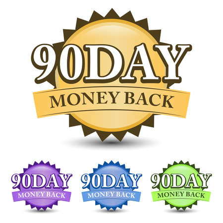 90 Day money back guarantee badge, label, and icon with four-color. Isolated on white background 矢量图像