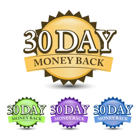 30 Day money back guarantee badge, label, and icon with four-color. Isolated on white background