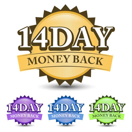 14 Day money back guarantee badge, label, and icon with four-color. Isolated on white background