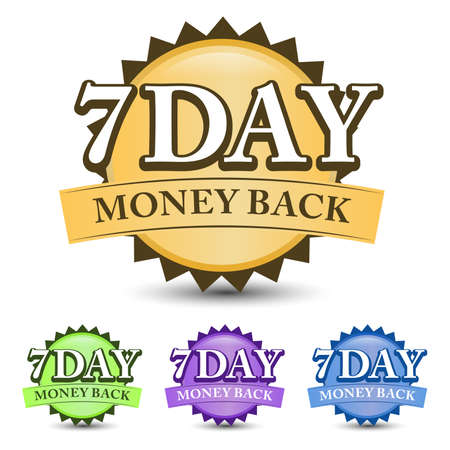 7 Day money back guarantee badge, label, and icon with four-color. Isolated on white background