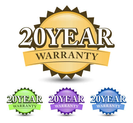 20 Year warranty 3D badge with green, golden, blue, and purple color, isolated on white background