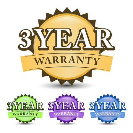 3 Year warranty 3D badge with green, golden, blue, and purple color, isolated on white background 矢量图像