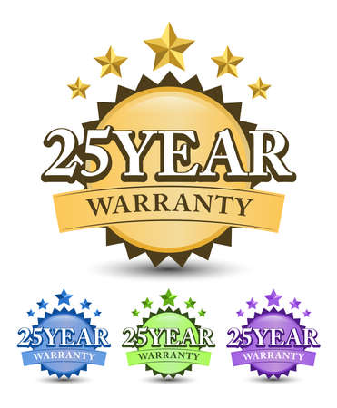 25 Year warranty badge, label, a sticker with stars, and colorful design variant isolated on white background 矢量图像