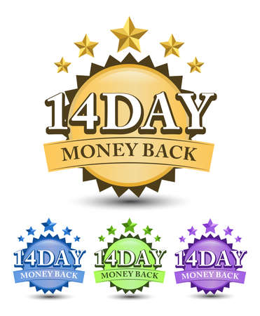 14 Day money back badge with blue, golden, green, and purple color variant isolated on white background 矢量图像
