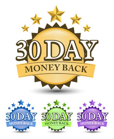 30 Day money back badge with blue, golden, green, and purple color variant isolated on white background 矢量图像