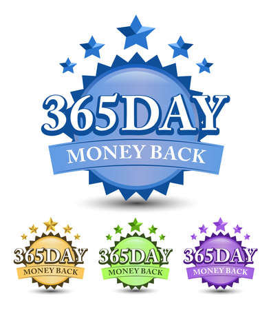 365 Day money back badge with blue, golden, green, and purple color variant isolated on white background