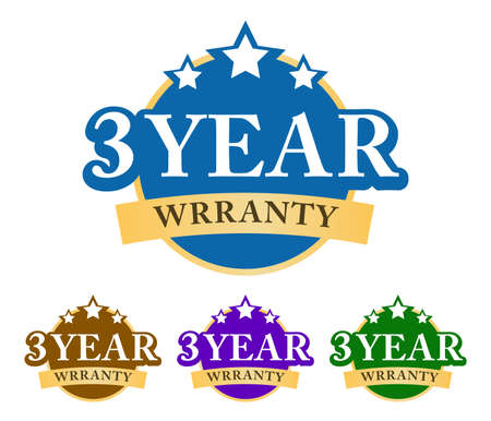 3-year warranty 3D badge, label, a sticker with simple ribbon and stars on top. Golden, green, blue, and purple color variant isolated on white background