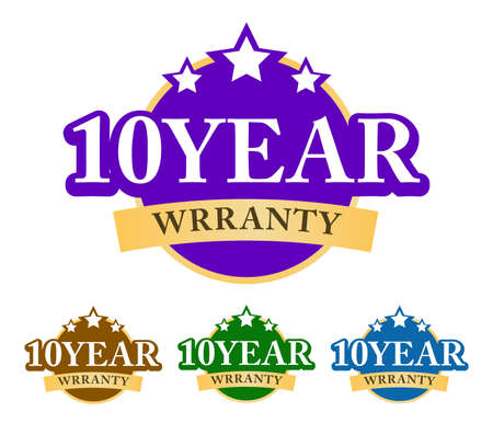 10-year warranty 3D badge, label, a sticker with simple ribbon and stars on top. Golden, green, blue, and purple color variant isolated on white background 矢量图像