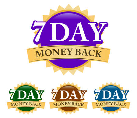 7 Day Money-back 3d golden, blue, green, and purple badge with simple ribbon isolated on white background