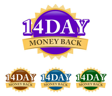 14 Day Money-back 3d golden, blue, green, and purple badge with simple ribbon isolated on white background
