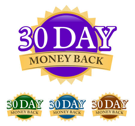 30 Day Money-back 3d golden, blue, green, and purple badge with simple ribbon isolated on white background