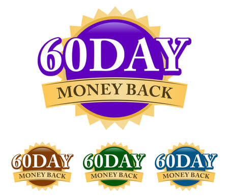 60 Day Money-back 3d golden, blue, green, and purple badge with simple ribbon isolated on white background