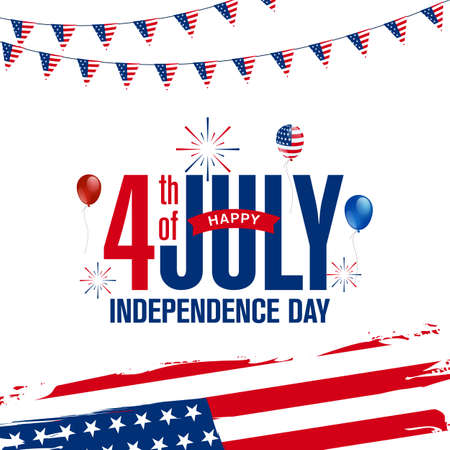 Happy 4th of July Independence Day greeting design with the USA patriotic colored ballon, firework burst, the American flag. Vector illustration on white background. 矢量图像