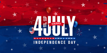 Happy 4th of July, Independence day greeting design on red & blue watercolor with star, balloon & fireworks burst. Vector illustration.