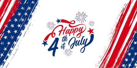 Happy 4th of July typography design with vertical American flag brush stroke on both sides, vector illustration.