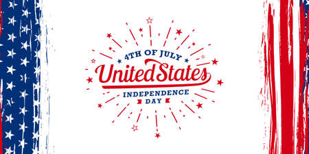 4th of July united states independence day, firework brush with vertical American flag brush stroke on both sides, vector illustration.