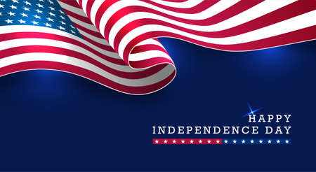 Creative Happy Independence Day celebration banner with waving American national flag on dark blue background.