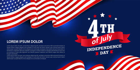 Creative 4th of July independence day banner/greeting card with ribbon and waving American flag on the dark blue background, you can add any text or message to the sample text field in the design.
