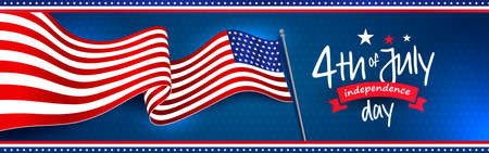Waving the American national flag with the 4th of July independence day greeting. Star pattern on dark blue background. Banner, web slider, postcard, etc. vector design.