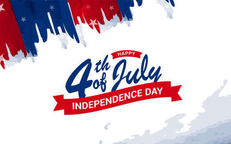 Patriotic Happy 4th of July Independence Day greeting card with American water-colored flag brush stroke background. Vector illustration.