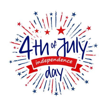 4th of July independence day banner with grunge firecracker burst, July greeting, celebrating freedom. Vector illustration on dark blue background.
