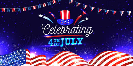 Celebrating 4th of July greeting card, banner, web slider, postcard with American hat, waving flag, fireworks, Garlands. Night light vibe and 3D Themed vector illustration. 矢量图像