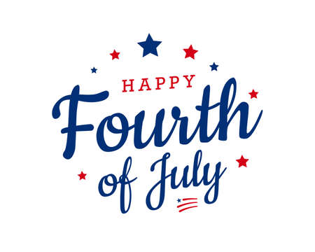 Happy Fourth of July trendy calligraphy design with stars and American flags. Vector