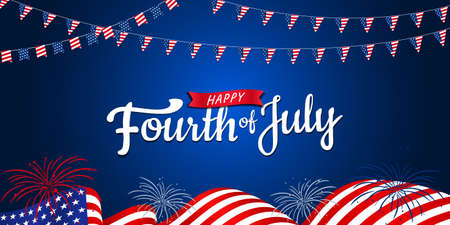 Happy 4th of July, USA Independence Day with waving American national flag & fireworks in the dark blue background, use for sale banner, discount banner, advertisement banner, etc.