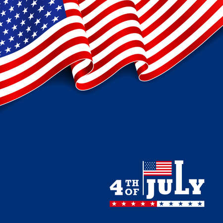 Modern 4th July typography design with waving American national flag on top in the blue background. Use for greeting July 4th card, banner, sale banner, discount banner, advertisement banner, etc.