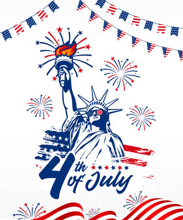 Celebrating 4th of July American independence day, fireworks incorporated with a statue of liberty, American waving flag, garlands use for greeting postcard, sale banner, web slider, discount banner,