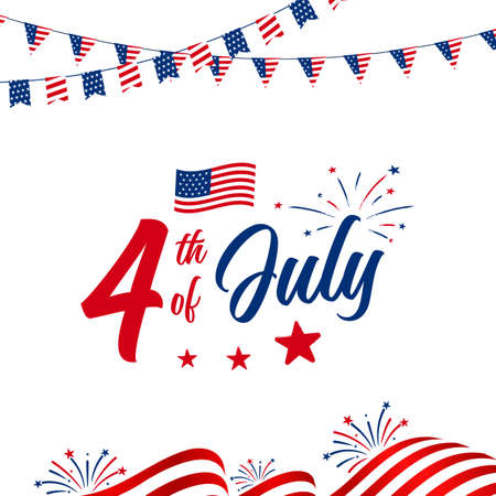 4th of July celebration with American national waving flag, garlands and fireworks, July greeting, celebrating freedom. Vector illustration on white background.