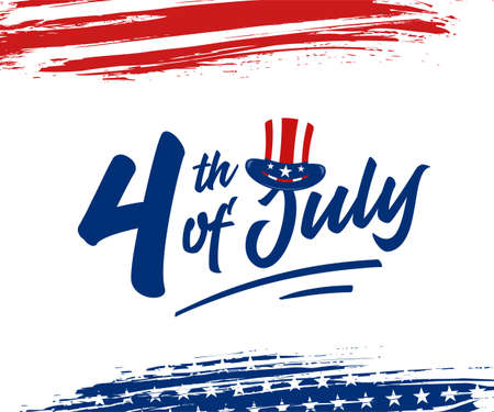 4th of July greeting card with American hat and grunge brush stroke background in United States national flag colors. Vector illustration.