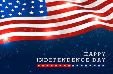 Colorful vibrant Happy American Independence day with American waving flag and fireworks isolated on dark blue background. Vector illustration.